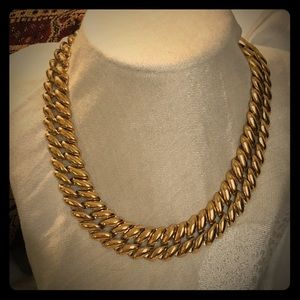 Monet Gold Plated braided chain necklace